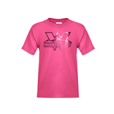Youth Fuchsia T Shirt-Interlocking W Mountaineers - Official Logo Foil