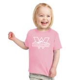 Toddler Pink T Shirt-Interlocking W Mountaineers - Official Logo