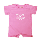 Bubble Gum Pink Infant Romper-Interlocking W Mountaineers - Official Logo