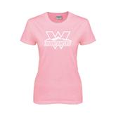 Ladies Pink T-Shirt-Interlocking W Mountaineers - Official Logo