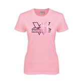 Ladies Pink T-Shirt-Interlocking W Mountaineers - Official Logo Foil