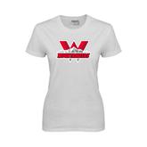 Ladies White T Shirt-Interlocking W Mountaineers - Official Logo