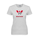 Ladies White T Shirt-W Western