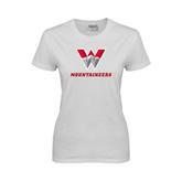 Ladies White T Shirt-W Mountaineers