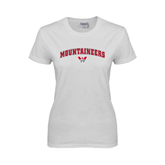 Ladies White T Shirt-Arched Mountaineers w/ W