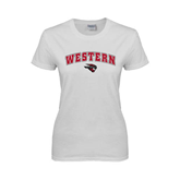 Ladies White T Shirt-Arched Western w/ Mad Jack