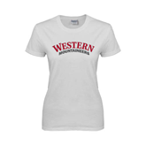 Ladies White T Shirt-Arched Western Mountaineers
