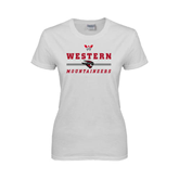Ladies White T Shirt-Western Mountaineers Stacked w W and Mad Jack