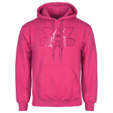 Fuchsia Fleece Hoodie-Interlocking W Mountaineers - Official Logo Foil