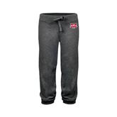 ENZA Ladies Dark Heather Banded Fleece Capri-Interlocking W Mountaineers - Official Logo