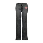 ENZA Ladies Dark Heather Fleece Pant-Interlocking W Mountaineers - Official Logo