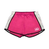 Ladies Fuchsia/White Team Short-Interlocking W Mountaineers - Official Logo
