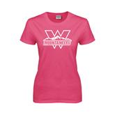 Ladies Fuchsia T Shirt-Interlocking W Mountaineers - Official Logo