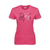 Ladies Fuchsia T Shirt-Interlocking W Mountaineers - Official Logo Foil