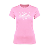 Ladies Performance Light Pink Tee-Interlocking W Mountaineers - Official Logo