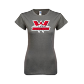 Ladies SoftStyle Junior Fitted Charcoal Tee-Interlocking W Mountaineers - Official Logo