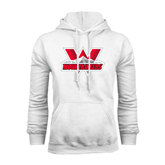 White Fleece Hoodie-Interlocking W Mountaineers - Official Logo