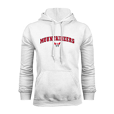 White Fleece Hoodie-Arched Mountaineers w/ W