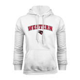 White Fleece Hoodie-Arched Western w/ Mad Jack