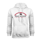 White Fleece Hoodie-Arched Football Design