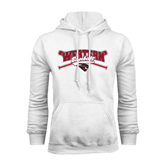 White Fleece Hoodie-Baseball Crossed Bats Design