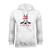 White Fleece Hoodie-Hockey Crossed Sticks Design