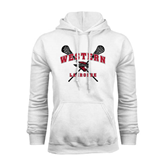 White Fleece Hoodie-Lacrosse Crossed Sticks
