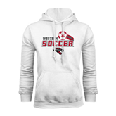 White Fleece Hoodie-Soccer Swoosh Design