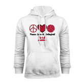 White Fleece Hoodie-Peace, Love and Volleyball Design