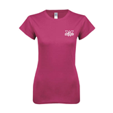 Ladies SoftStyle Junior Fitted Fuchsia Tee-Interlocking W Mountaineers - Official Logo