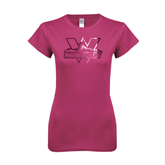 Ladies SoftStyle Junior Fitted Fuchsia Tee-Interlocking W Mountaineers - Official Logo Foil