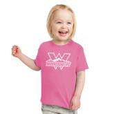 Toddler Fuchsia T Shirt-Interlocking W Mountaineers - Official Logo