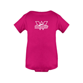 Fuchsia Infant Onesie-Interlocking W Mountaineers - Official Logo