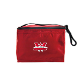Six Pack Red Cooler-Interlocking W Mountaineers - Official Logo