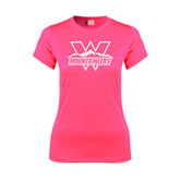 Ladies Performance Hot Pink Tee-Interlocking W Mountaineers - Official Logo