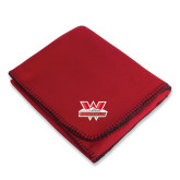 Red Arctic Fleece Blanket-Interlocking W Mountaineers - Official Logo