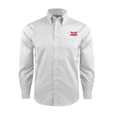 Red House White Long Sleeve Shirt-Interlocking W Mountaineers - Official Logo