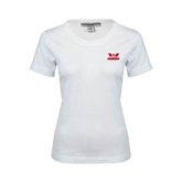 Ladies White Stretch Scoop Neck-Interlocking W Mountaineers - Official Logo