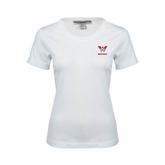 Ladies White Stretch Scoop Neck-W Western
