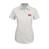 Ladies White Twill Button Up Short Sleeve-Interlocking W Mountaineers - Official Logo