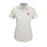 Ladies White Twill Button Up Short Sleeve-W Western