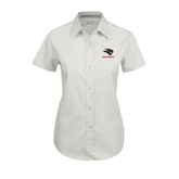 Ladies White Twill Button Up Short Sleeve-Mad Jack Mountaineers