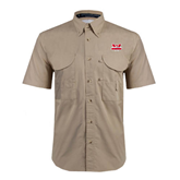Khaki Short Sleeve Performance Fishing Shirt-Interlocking W Mountaineers - Official Logo