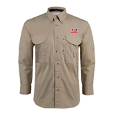 Khaki Long Sleeve Performance Fishing Shirt-Interlocking W Mountaineers - Official Logo