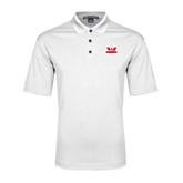 White Performance Fine Jacquard Polo-Interlocking W Mountaineers - Official Logo