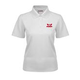 Ladies White Dry Mesh Polo-Interlocking W Mountaineers - Official Logo