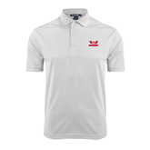 White Dry Mesh Polo-Interlocking W Mountaineers - Official Logo