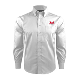 Red House White Dobby Long Sleeve Shirt-Interlocking W Mountaineers - Official Logo