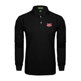 Black Long Sleeve Polo-Interlocking W Mountaineers - Official Logo