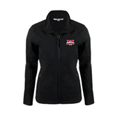 Ladies Black Softshell Jacket-Interlocking W Mountaineers - Official Logo